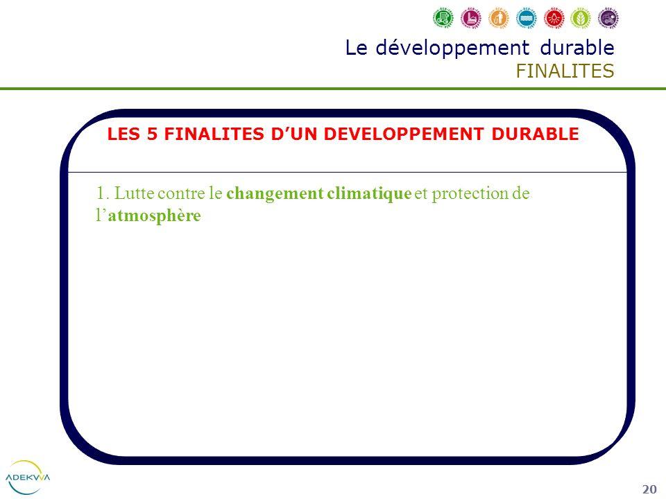 20 Le développement durable FINALITES LES 5 FINALITES DUN DEVELOPPEMENT DURABLE 1. Lutte contre le changement climatique et protection de latmosphère