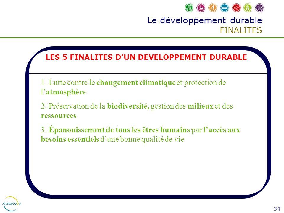 34 Le développement durable FINALITES LES 5 FINALITES DUN DEVELOPPEMENT DURABLE 1. Lutte contre le changement climatique et protection de latmosphère