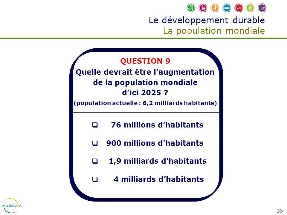 35 Le développement durable La population mondiale QUESTION 9 Quelle devrait être laugmentation de la population mondiale dici 2025 ? (population actu