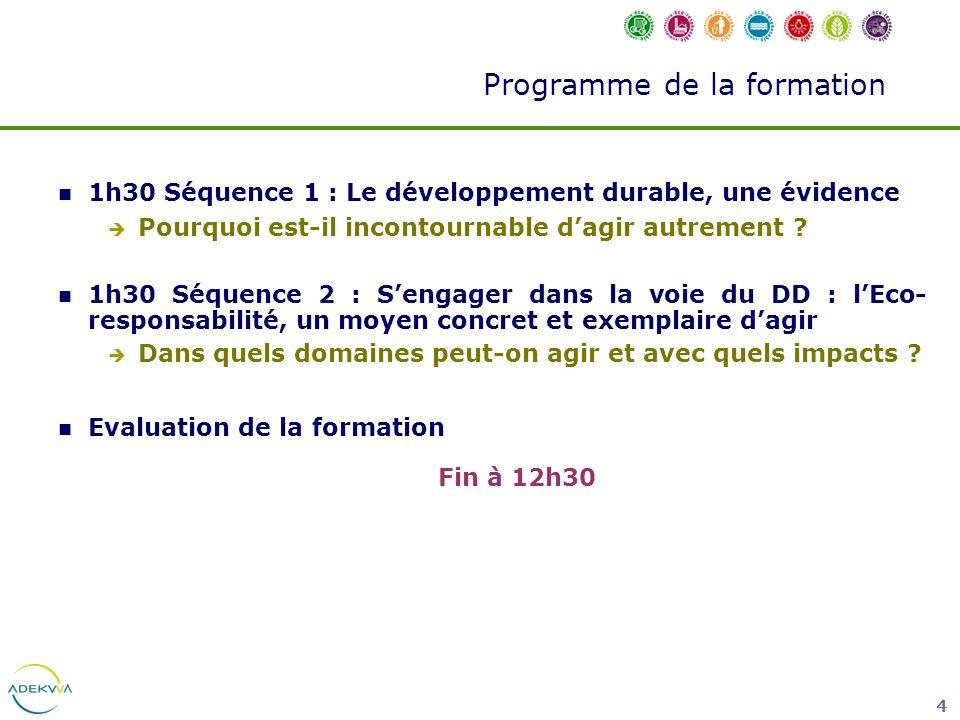 4 1h30 Séquence 1 : Le développement durable, une évidence Pourquoi est-il incontournable dagir autrement ? 1h30 Séquence 2 : Sengager dans la voie du