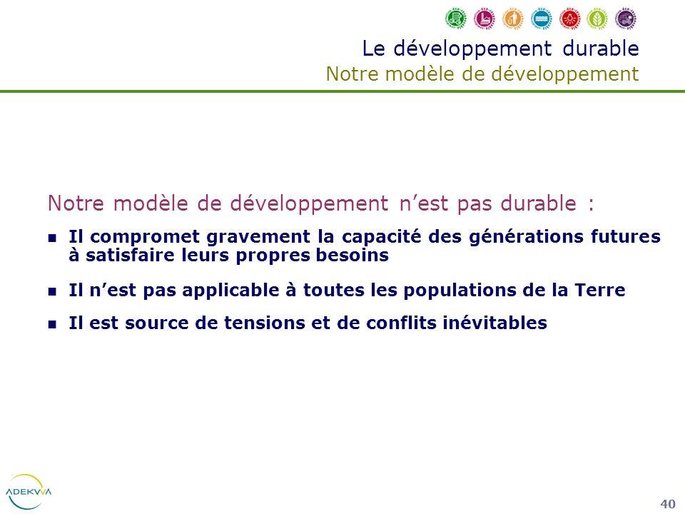 40 Le développement durable Notre modèle de développement Notre modèle de développement nest pas durable : Il compromet gravement la capacité des géné