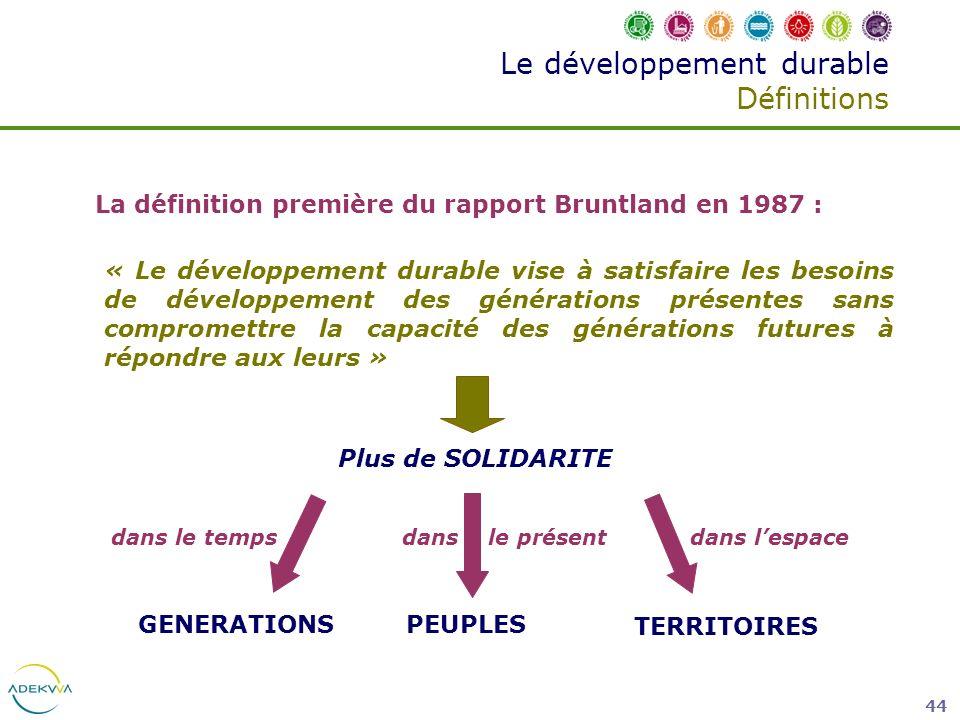 44 Le développement durable Définitions La définition première du rapport Bruntland en 1987 : « Le développement durable vise à satisfaire les besoins