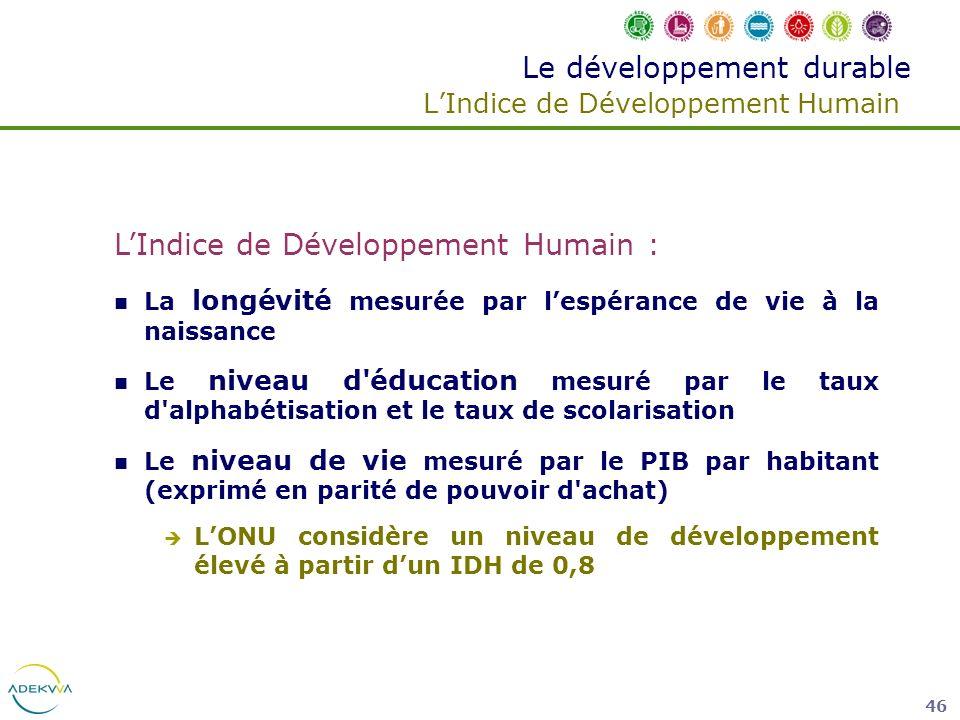 46 Le développement durable LIndice de Développement Humain LIndice de Développement Humain : La longévité mesurée par lespérance de vie à la naissanc