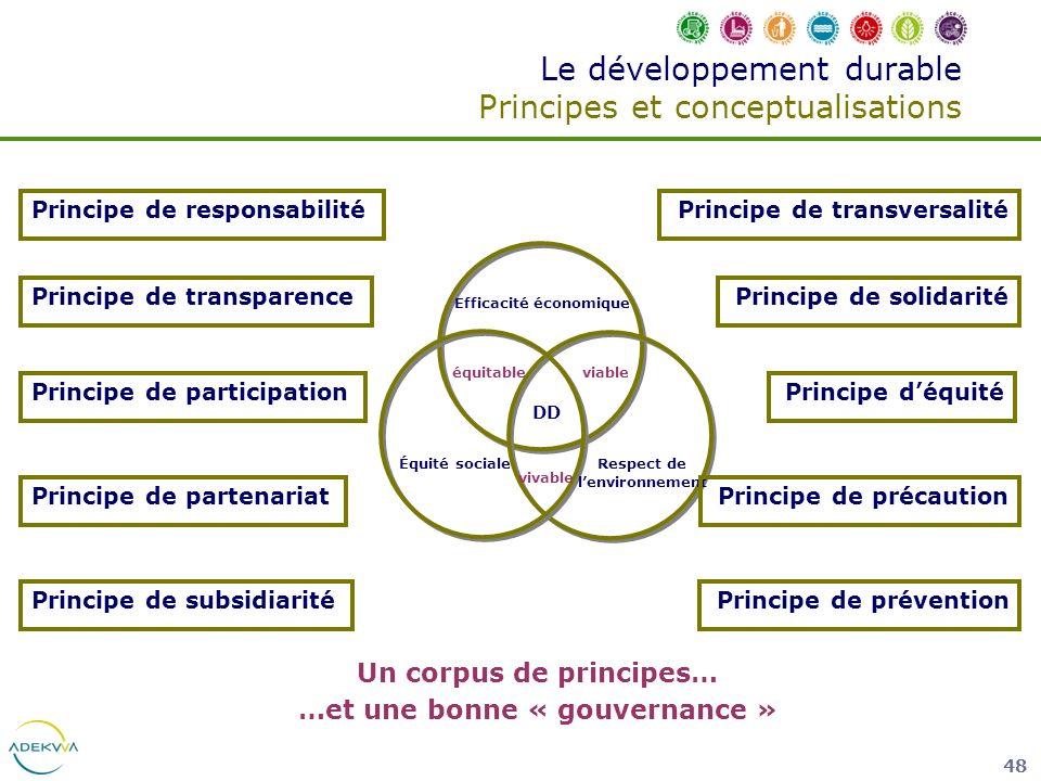 48 Le développement durable Principes et conceptualisations DD Efficacité économique Respect de lenvironnement Équité sociale équitableviable vivable