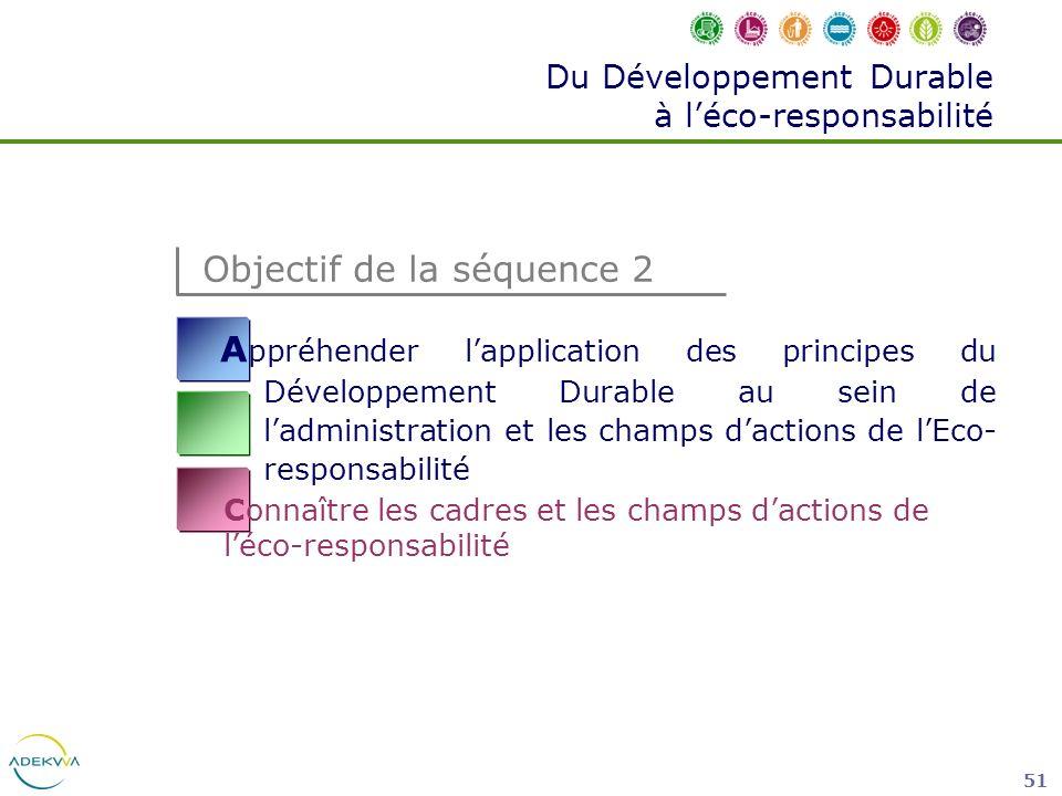 51 Du Développement Durable à léco-responsabilité A ppréhender lapplication des principes du Développement Durable au sein de ladministration et les c
