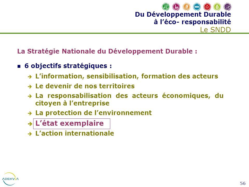 56 La Stratégie Nationale du Développement Durable : 6 objectifs stratégiques : Linformation, sensibilisation, formation des acteurs Le devenir de nos