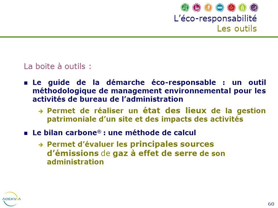 60 Léco-responsabilité Les outils La boite à outils : Le guide de la démarche éco-responsable : un outil méthodologique de management environnemental