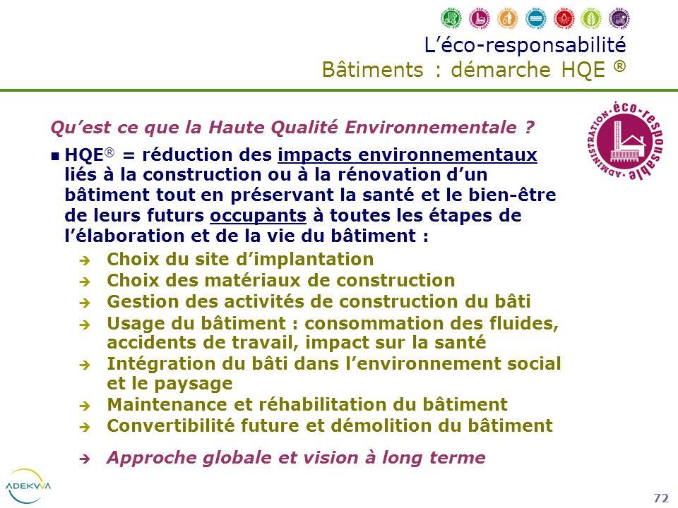 72 Léco-responsabilité Bâtiments : démarche HQE ® Quest ce que la Haute Qualité Environnementale ? HQE ® = réduction des impacts environnementaux liés