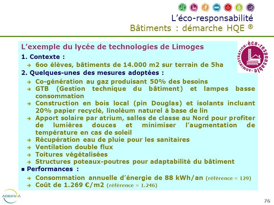 76 Léco-responsabilité Bâtiments : démarche HQE ® Lexemple du lycée de technologies de Limoges 1. Contexte : 6oo élèves, bâtiments de 14.000 m2 sur te