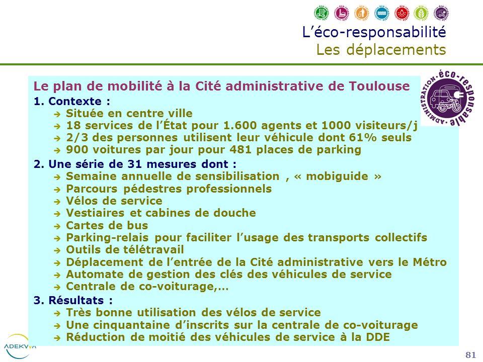 81 Léco-responsabilité Les déplacements Le plan de mobilité à la Cité administrative de Toulouse 1. Contexte : Située en centre ville 18 services de l