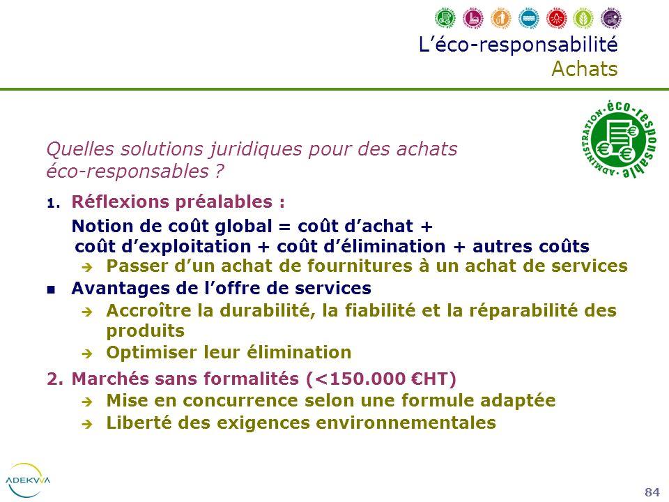 84 Léco-responsabilité Achats Quelles solutions juridiques pour des achats éco-responsables ? 1. Réflexions préalables : Notion de coût global = coût