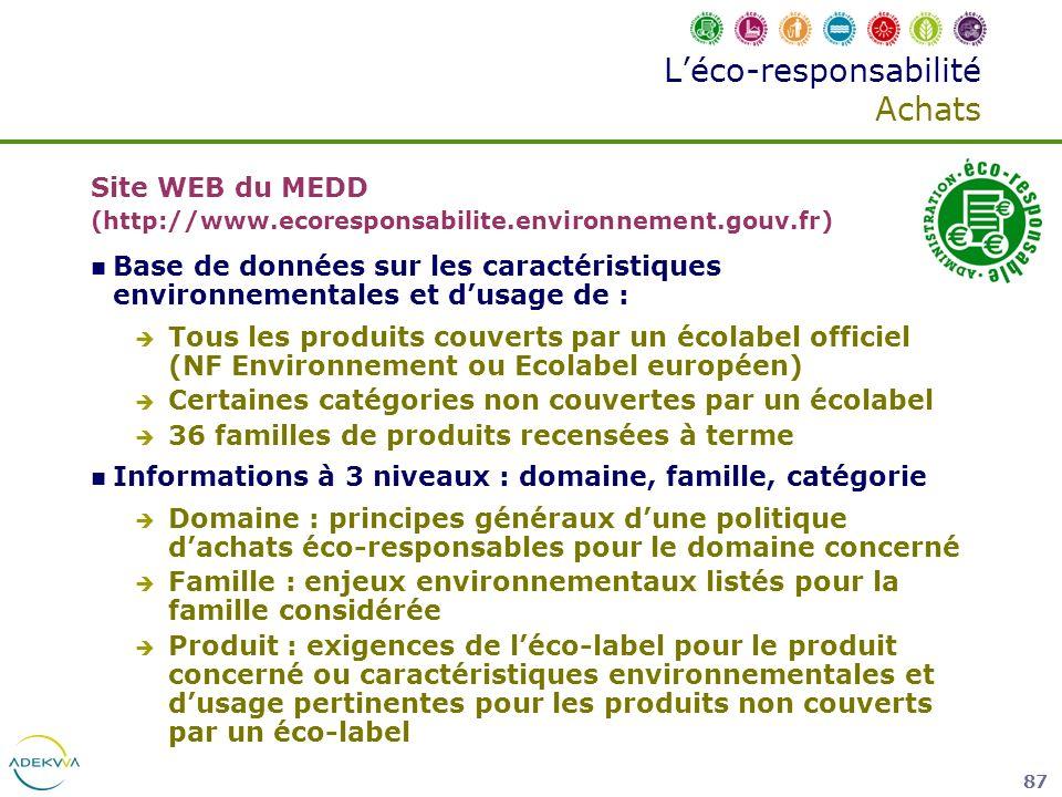 87 Léco-responsabilité Achats Site WEB du MEDD (http://www.ecoresponsabilite.environnement.gouv.fr) Base de données sur les caractéristiques environne