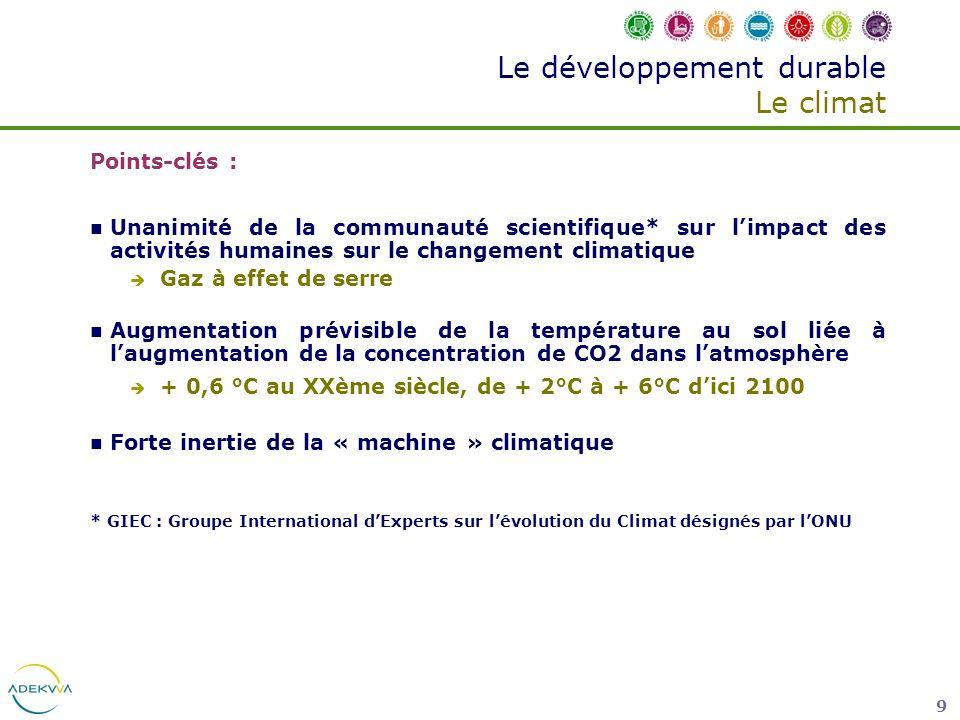 9 Le développement durable Le climat Points-clés : Unanimité de la communauté scientifique* sur limpact des activités humaines sur le changement clima