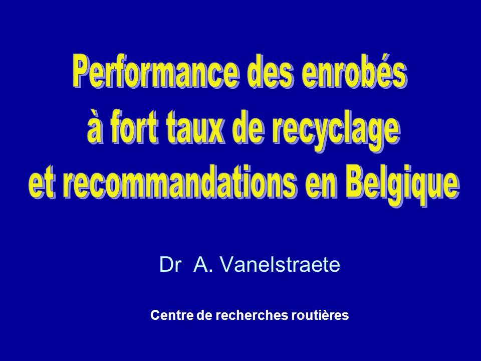 Expérience belge en matière de recyclage Recommandations en matière de PmB Problèmes dutilisation de recyclats à base de PmB par un tambour parallèle avec préchauffage: collage mauvaise circulation ou blocage du tambour blocage du ventilateur à cause des vapeurs contenant du PmB lorsque les recyclats sont chauffés plus fort: trop démanations Dès lors: mélanger les recyclats contenant du PmB à des recyclats ne contenant pas de PmB (1/4) introduction à froid