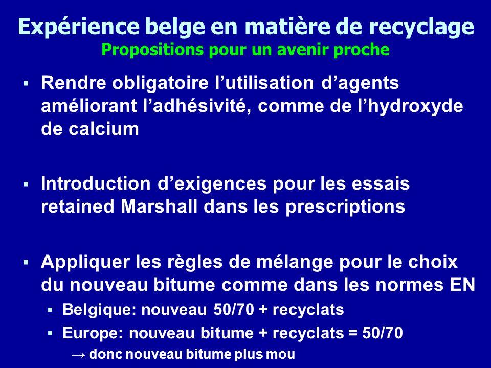 Expérience belge en matière de recyclage Propositions pour un avenir proche Rendre obligatoire lutilisation dagents améliorant ladhésivité, comme de l