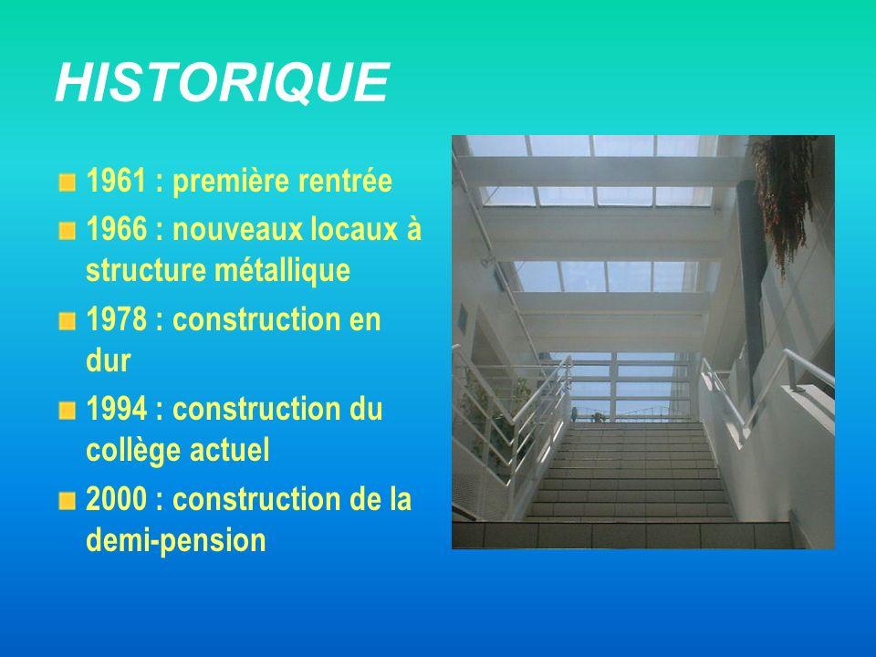 HISTORIQUE 1961 : première rentrée 1966 : nouveaux locaux à structure métallique 1978 : construction en dur 1994 : construction du collège actuel 2000
