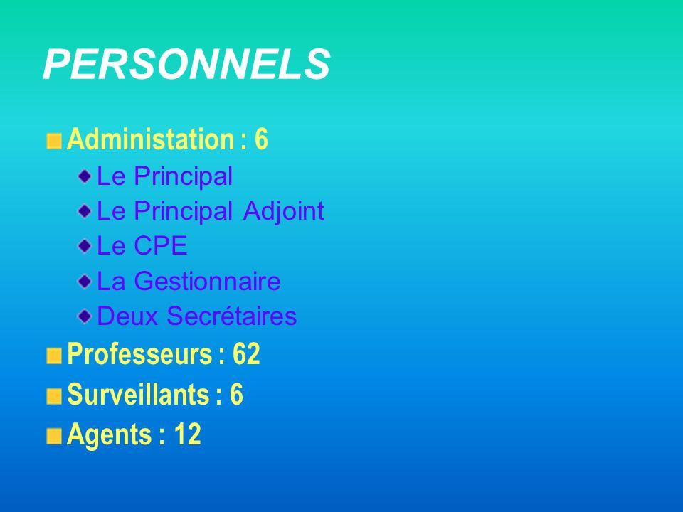 PERSONNELS Administation : 6 Le Principal Le Principal Adjoint Le CPE La Gestionnaire Deux Secrétaires Professeurs : 62 Surveillants : 6 Agents : 12