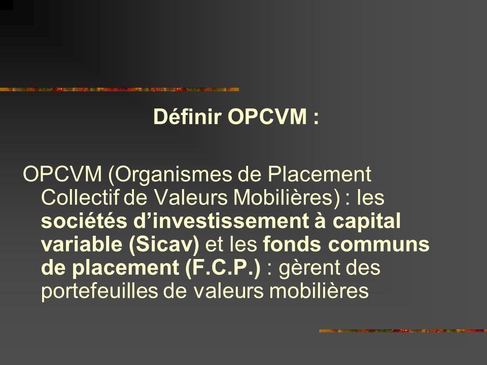 Définir OPCVM : OPCVM (Organismes de Placement Collectif de Valeurs Mobilières) : les sociétés dinvestissement à capital variable (Sicav) et les fonds communs de placement (F.C.P.) : gèrent des portefeuilles de valeurs mobilières