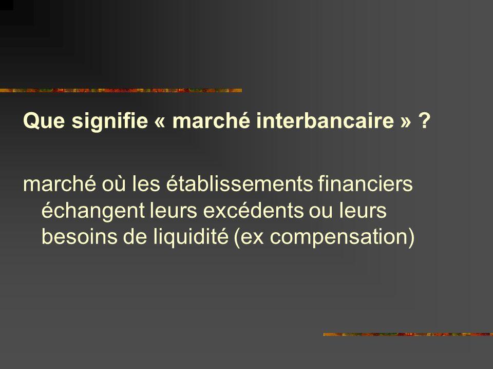 Que signifie « marché interbancaire » .