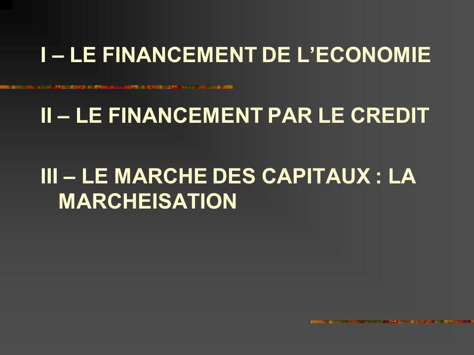 I – LE FINANCEMENT DE LECONOMIE II – LE FINANCEMENT PAR LE CREDIT III – LE MARCHE DES CAPITAUX : LA MARCHEISATION