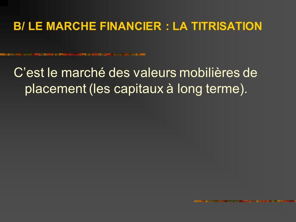 B/ LE MARCHE FINANCIER : LA TITRISATION Cest le marché des valeurs mobilières de placement (les capitaux à long terme).