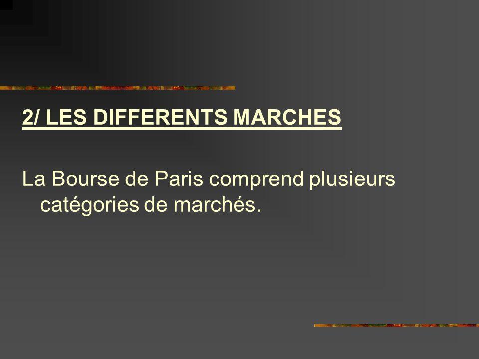2/ LES DIFFERENTS MARCHES La Bourse de Paris comprend plusieurs catégories de marchés.