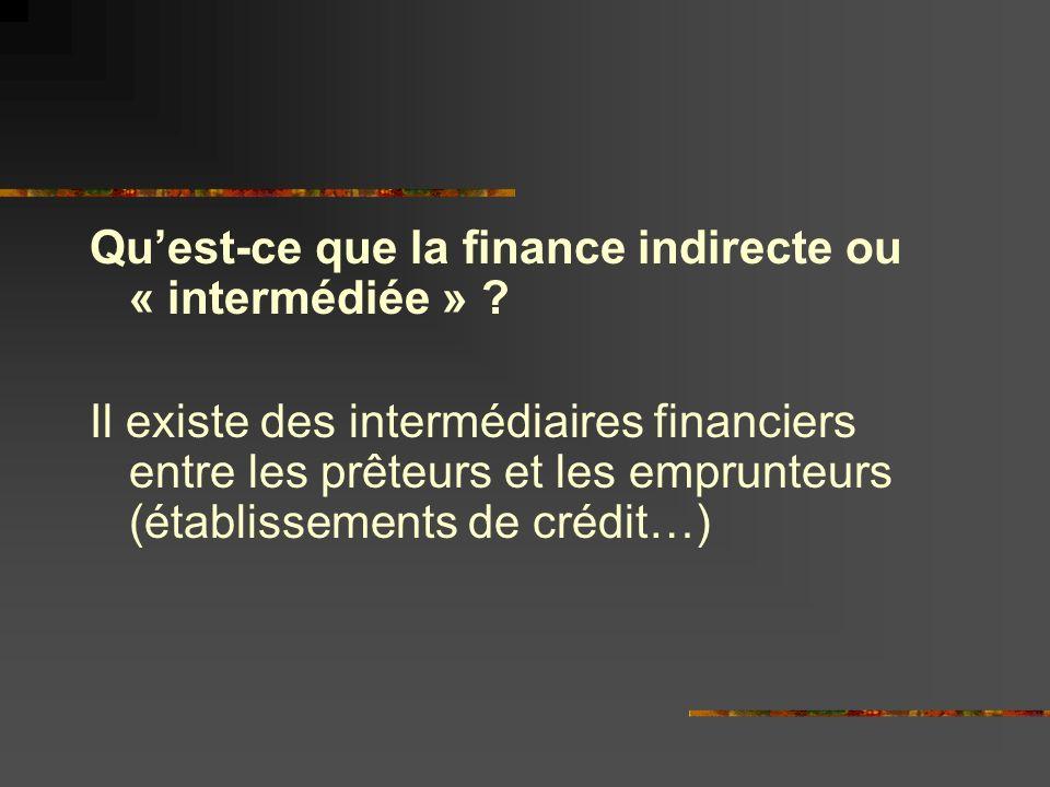 Quest-ce que la finance indirecte ou « intermédiée » .