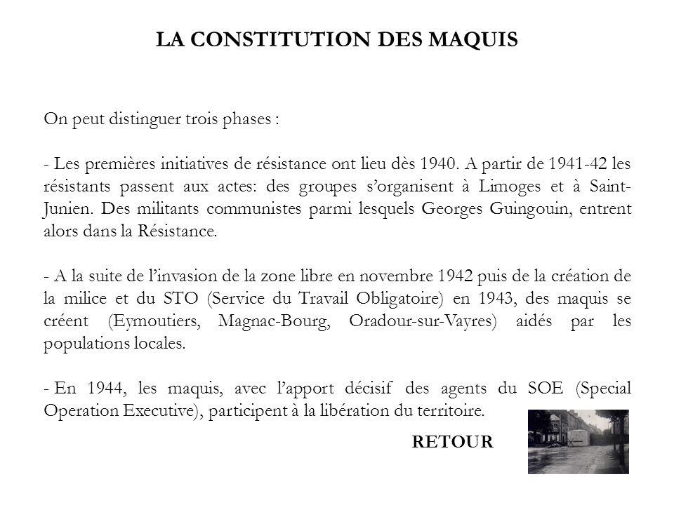 LA CONSTITUTION DES MAQUIS On peut distinguer trois phases : - Les premières initiatives de résistance ont lieu dès 1940. A partir de 1941-42 les rési