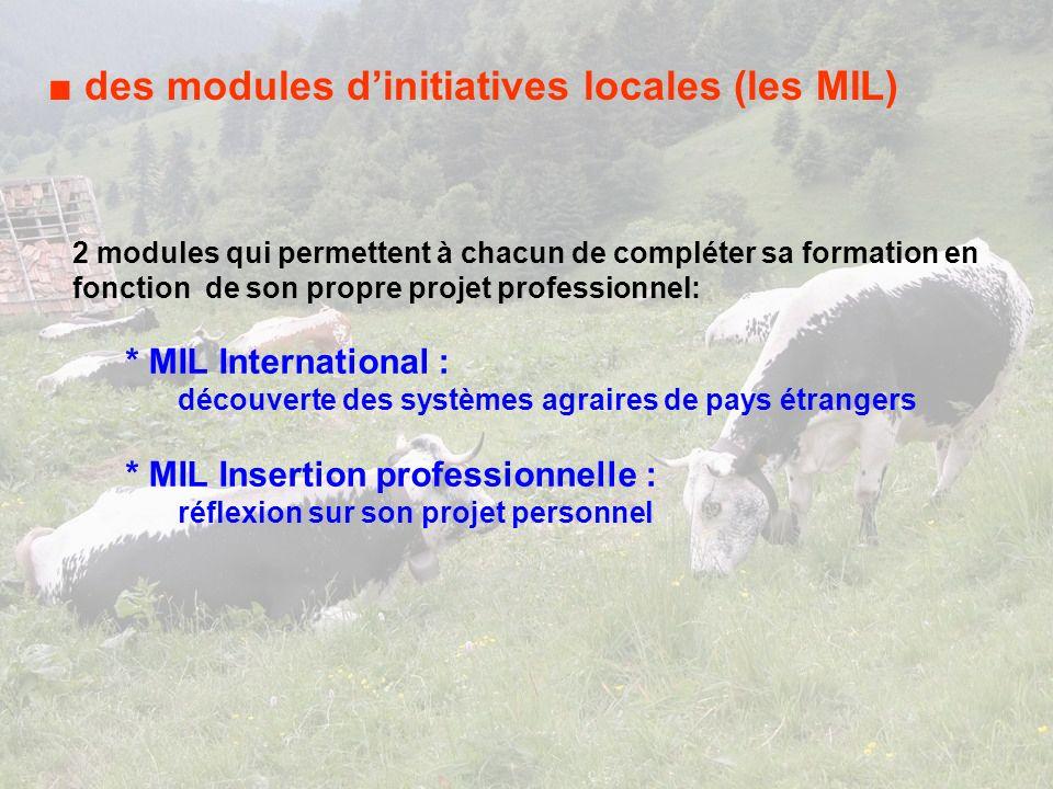 des modules dinitiatives locales (les MIL) 2 modules qui permettent à chacun de compléter sa formation en fonction de son propre projet professionnel: * MIL International : découverte des systèmes agraires de pays étrangers * MIL Insertion professionnelle : réflexion sur son projet personnel