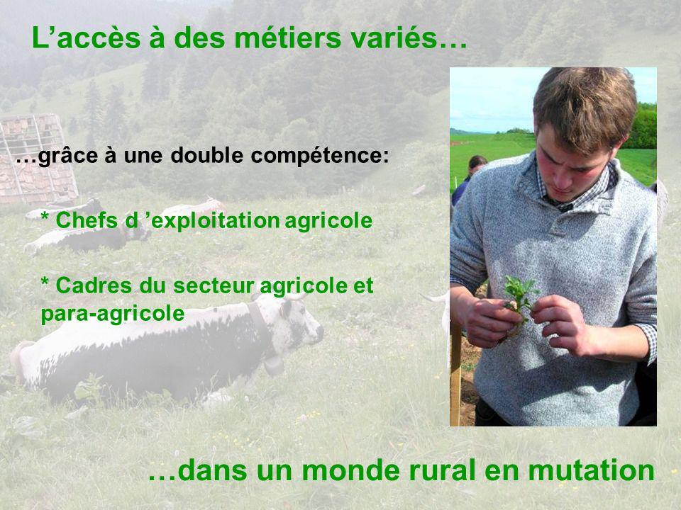 Laccès à des métiers variés… …dans un monde rural en mutation …grâce à une double compétence: * Chefs d exploitation agricole * Cadres du secteur agricole et para-agricole