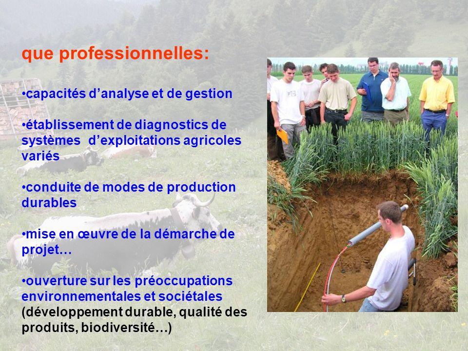 que professionnelles: capacités danalyse et de gestion établissement de diagnostics de systèmes dexploitations agricoles variés conduite de modes de production durables mise en œuvre de la démarche de projet… ouverture sur les préoccupations environnementales et sociétales (développement durable, qualité des produits, biodiversité…)