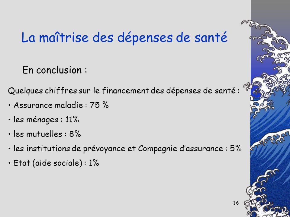 16 En conclusion : La maîtrise des dépenses de santé Quelques chiffres sur le financement des dépenses de santé : Assurance maladie : 75 % les ménages