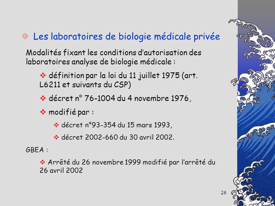 26 Les laboratoires de biologie médicale privée Modalités fixant les conditions dautorisation des laboratoires analyse de biologie médicale : définiti
