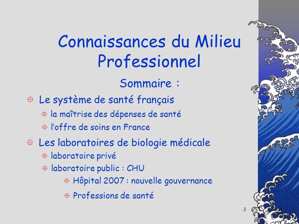 3 Connaissances du Milieu Professionnel Sommaire : Le système de santé français la maîtrise des dépenses de santé loffre de soins en France Les labora