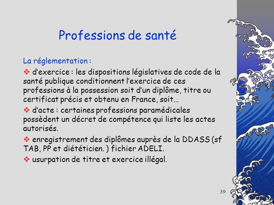 39 La réglementation : dexercice : les dispositions législatives de code de la santé publique conditionnent lexercice de ces professions à la possessi