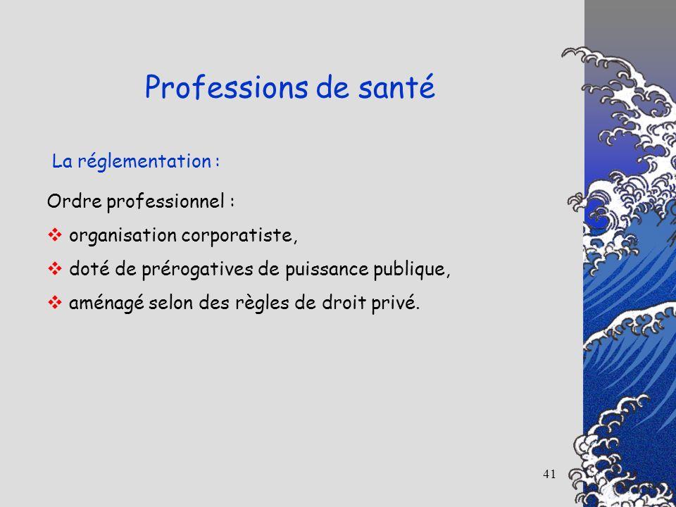 41 La réglementation : Professions de santé Ordre professionnel : organisation corporatiste, doté de prérogatives de puissance publique, aménagé selon