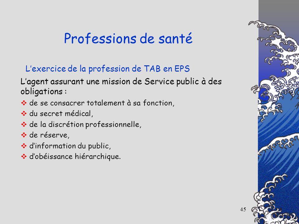 45 Lexercice de la profession de TAB en EPS Professions de santé Lagent assurant une mission de Service public à des obligations : de se consacrer tot