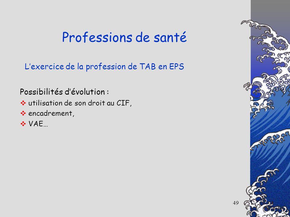 49 Lexercice de la profession de TAB en EPS Professions de santé Possibilités dévolution : utilisation de son droit au CIF, encadrement, VAE…