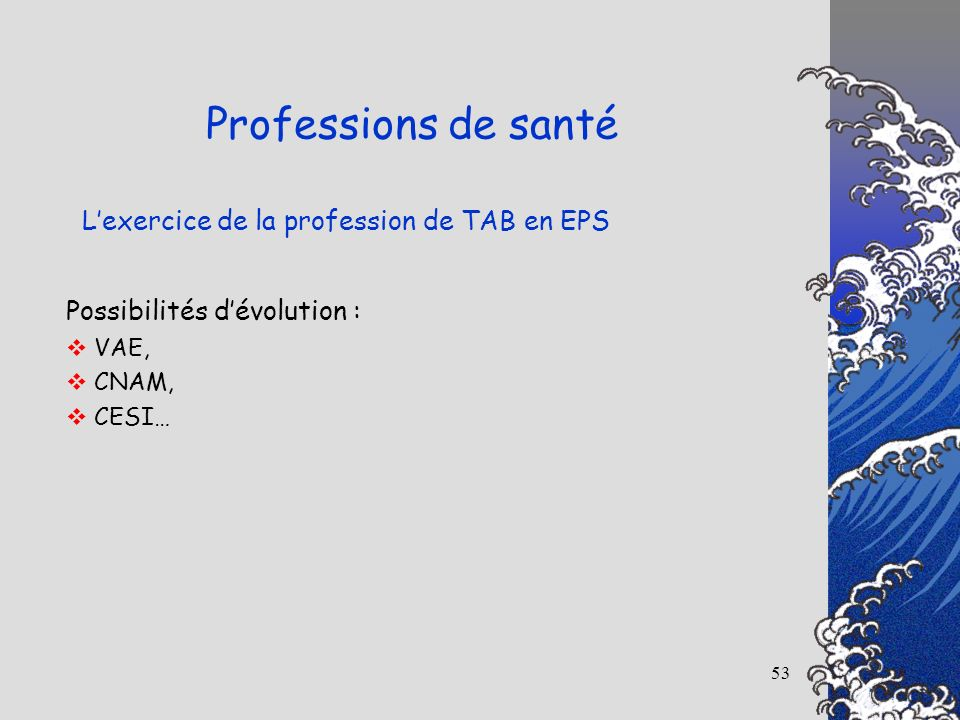 53 Lexercice de la profession de TAB en EPS Professions de santé Possibilités dévolution : VAE, CNAM, CESI…