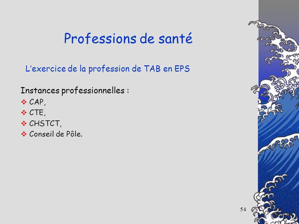 54 Lexercice de la profession de TAB en EPS Professions de santé Instances professionnelles : CAP, CTE, CHSTCT, Conseil de Pôle.