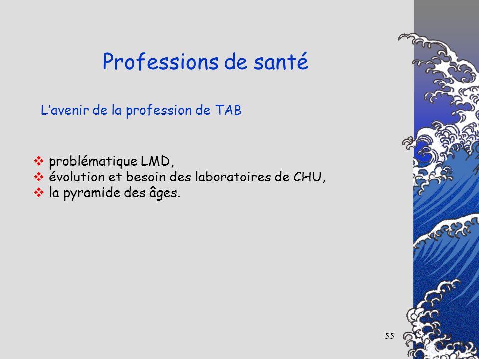55 Lavenir de la profession de TAB Professions de santé problématique LMD, évolution et besoin des laboratoires de CHU, la pyramide des âges.