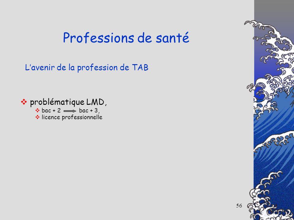 56 Lavenir de la profession de TAB Professions de santé problématique LMD, bac + 2 bac + 3, licence professionnelle