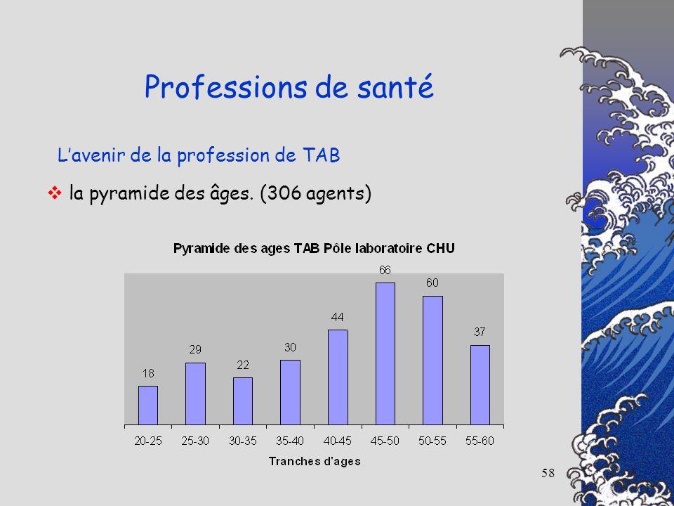 58 Lavenir de la profession de TAB Professions de santé la pyramide des âges. (306 agents)