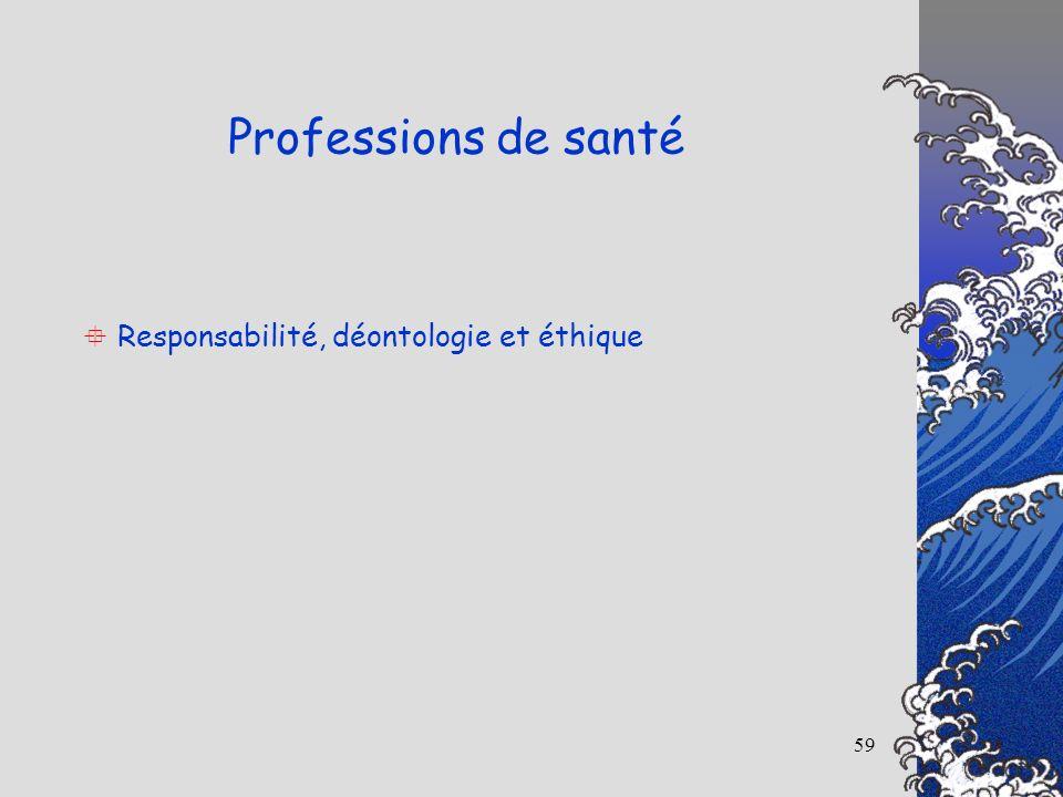 59 Responsabilité, déontologie et éthique Professions de santé