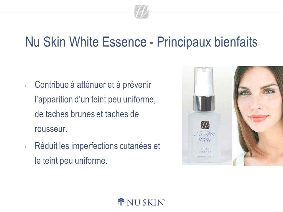 Nu Skin White Essence - Principaux bienfaits Les agents hydratants et émollients revitalisent la peau et lui permettent de conserver un taux dhydratation optimal.
