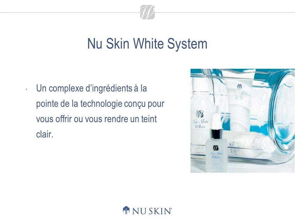 Nu Skin White System Un complexe dingrédients à la pointe de la technologie conçu pour vous offrir ou vous rendre un teint clair.