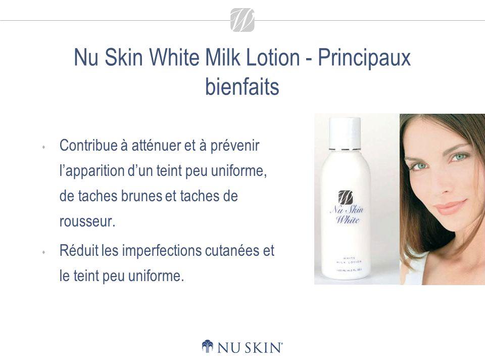 Nu Skin White Milk Lotion - Principaux bienfaits Contribue à atténuer et à prévenir lapparition dun teint peu uniforme, de taches brunes et taches de rousseur.