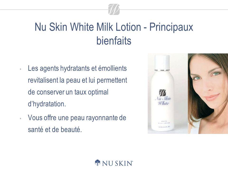 Nu Skin White Milk Lotion - Principaux bienfaits Les agents hydratants et émollients revitalisent la peau et lui permettent de conserver un taux optimal dhydratation.