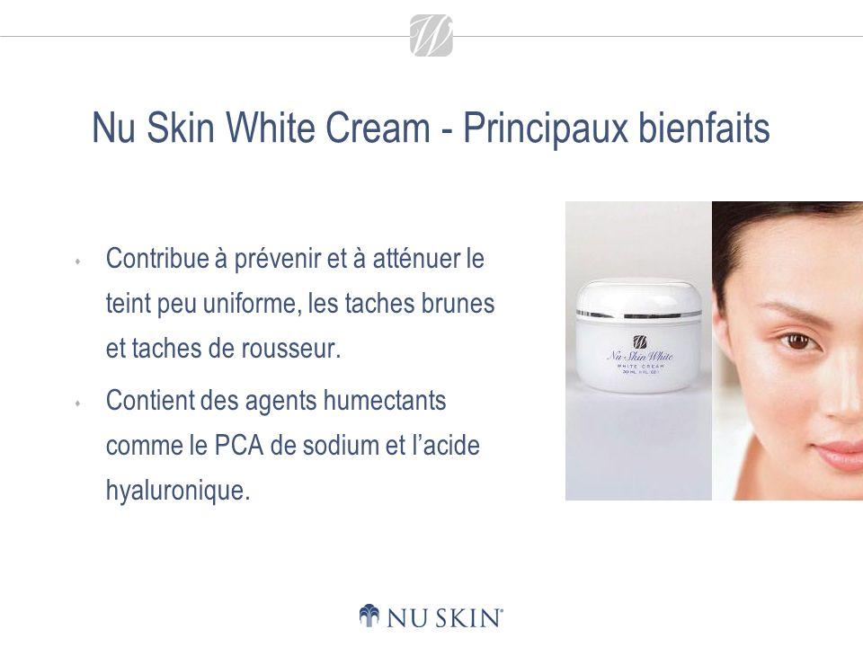 Nu Skin White Cream - Principaux bienfaits Contribue à prévenir et à atténuer le teint peu uniforme, les taches brunes et taches de rousseur.