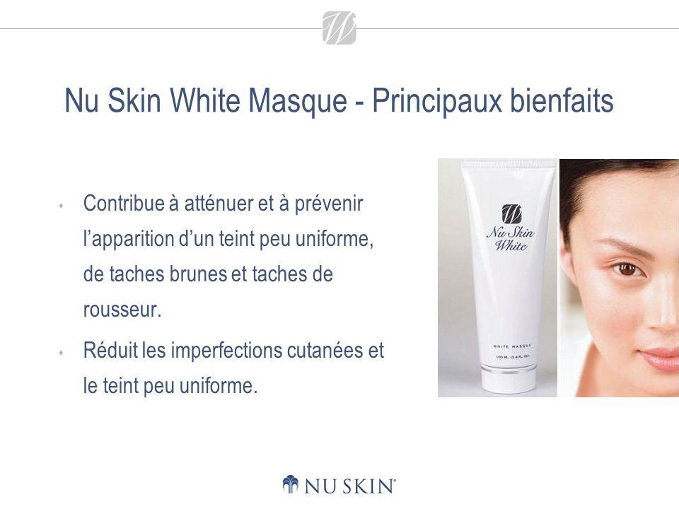 Nu Skin White Masque - Principaux bienfaits Contribue à atténuer et à prévenir lapparition dun teint peu uniforme, de taches brunes et taches de rousseur.